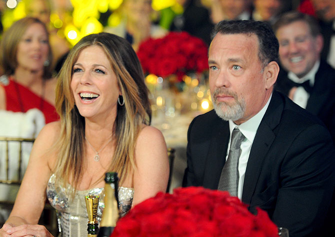 PHOENIX, AZ - MARCH 24: Actors Rita Wilson (L) and Tom Hanks attend Muhammad Ali's Celebrity Fight Night XIII held at JW Marriott Desert Ridge Resort & Spa on March 24, 2012 in Phoenix, Arizona. (Photo by Michael Buckner/Getty Images for CFN)