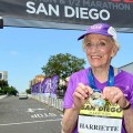 SAN DIEGO, CA - MAY 31:  92 year old Harriette Thompson finishes the Suja Rock 'n' Roll San Diego Marathon on May 31, 2015 in San Diego, California.  (Photo by Jerod Harris/Getty Images for Rock 'n' Roll Marathon Series)